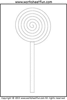 Candy Tracing and Coloring – 4 Halloween Worksheets – lollipop