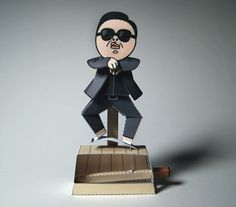 Gangnam Style Machine Automata Papercraft - by Kamibox == A cool paper toy automata of Psy, the Korean popstar that sings the megahit Gangna Style. This nice paper toy was created by German designer Kamibox.