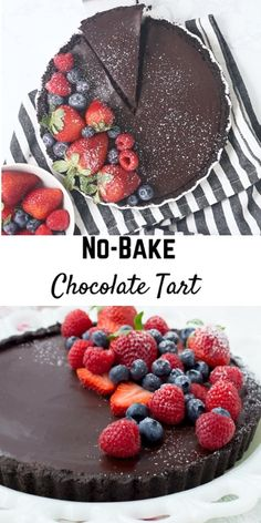 A chocolate tart recipe that is no bake and only uses four ingredients? It may sound too good to be true, but it is indeed true and my husband even deemed this the best dessert he's ever had! Fancy Desserts, No Bake Desserts, Just Desserts, Delicious Desserts, Dessert Recipes, Fancy Chocolate Desserts, Dessert Tarts, Romantic Desserts, Peanut Butter Desserts
