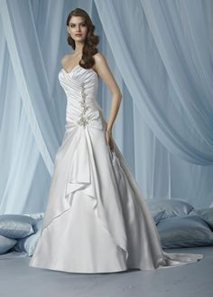 A-line Sweetheart Asymmetrically Ruched Bodice Beading Drape Satin Wedding Dress-wa0133, $259.95