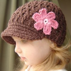 Flowered Visor Beanie - brown, pastel pink, rose
