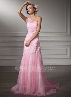 Wedding Dresses - $186.29 - Sheath/Column One-Shoulder Chapel Train Satin Tulle Wedding Dress With Ruffle Lace Beadwork (002011380) http://jjshouse.com/Sheath-Column-One-Shoulder-Chapel-Train-Satin-Tulle-Wedding-Dress-With-Ruffle-Lace-Beadwork-002011380-g11380
