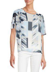 Calvin Klein Graphic Blouse Women's Grey X-Small