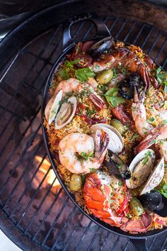 In this Skillet Grilled Seafood and Chorizo Paella from halfbakedharvest.com, everything cooks right on the grill!
