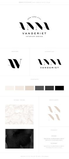 Mel Volkman Interior Design Brand Modern Brand Board Black and White Logo Monogram Branding
