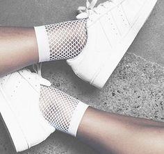 Shop Socks on sturbock. Fashion 2017, Fashion Outfits, Womens Fashion, Fashion Trends, Fashion Styles, Sock Shoes, Cute Shoes, Mesh Socks, Happy Socks