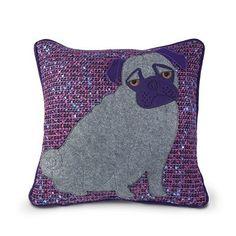 Dora Designs Purple Pug Cushion – Grey and purple felt. 40 x 40cm