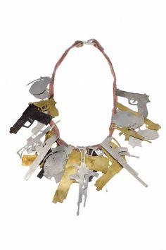 Malaika Najem - Bracelet ; Pink fabric, aluminium, iron, shibuichi, brass
