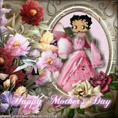 BB Happy Mothers Day to all u Mom's Happy Mothers Day Mom, Mom Day, Happy Day, Betty Boop Cartoon, Betty Boop Pictures, Happy Planner, Special Day, Pretty In Pink, Floral Wreath
