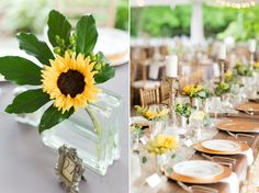 Sundara Wedding | Yellow Floral Arrangement, Table Settings, Rustic Wedding, Gray and Yellow, Sun Flowers, Outside Wedding Venue