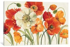 Tangletown Fine Art Poppies Melody I by Lisa Audit Framed Painting Print, 59 Canvas Artwork, Canvas Art Prints, Canvas Wall Art, Fine Art Prints, Big Canvas, Framed Canvas, Framed Prints, Art Floral, Floral Watercolor