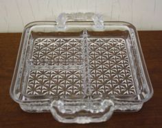 Vintage Pressed Glass Divided Snack Tray (E4852)