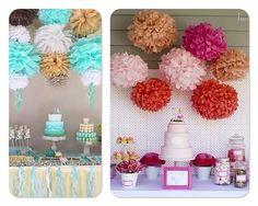 decoracion con pompones de papel - Buscar con Google