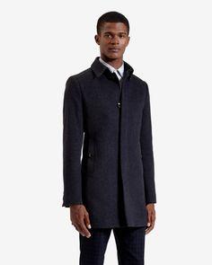 Wool overcoat - Charcoal   Jackets & Coats   Ted Baker