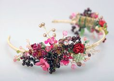 Crystal and paper flowers with bead berries hairpiece #flowers  #bridal #bespoke #wedding #accessories #bridal #hairpiece