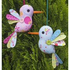"""I am so inspired by my fabric collection, """"Wildflower Meadow"""" and am completely in love with the sweet hummingbird print, which was the inspiration for this design.Imagine these sweet birds hanging about everywhere bringing smiles to all!These hummingbirds are perfect for using up those scraps and small fabric pieces.This pattern is suitable for sewers of all skill levels.Completed size is approx. 22cm (8 1/2"""" tall).Patterns contain step-by-step instructions and the full sized templates to…"""