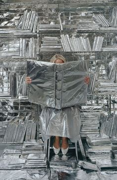 ALL THINGS SILVER - backdrop idea of aluminum foil covered things? or just a wrapped canvas frame or something could be fun!