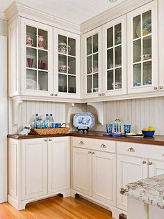 15 Tips for a Cottage-Style Kitchen Custom Furniturelike cabinets with feet and simple crown molding add to a cottage design. A freestanding hutch from a bygone era creates a focal point for the room.