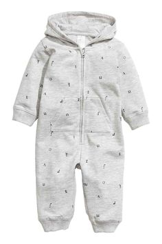Hooded all-in-one suit - Grey/Letter - Kids | H&M 1
