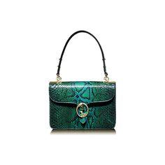 Gucci 1973 Malachite Green Color Python Top Handle Bag ($3,000) ❤ liked on Polyvore