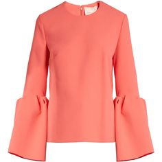 Roksanda Truffaut bell-sleeved stretch-cady top ($709) ❤ liked on Polyvore featuring tops, coral, red top, cut loose tops, flare tops, roksanda and flared sleeve top