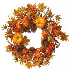 """This 26"""" Grapevine wreath is filled with pumpkins, gourds, berries and fall foliage.The fall colors on this wreath are rustic and simple. #wedding favors, #bridal shower favors, #party favors, #personalized favors, #decorations, #bridesmaids gifts, #bridal party gifts, #wedding supplies #timelesstreasure"""