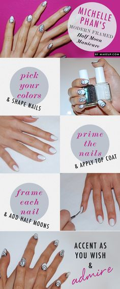 Modern Framed Half Moon Manicure // love the colors and design!