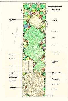 Long thin garden with interest from assorted overlapping for Garden and its importance