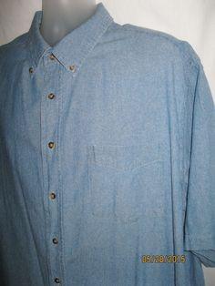 Mens GEORGE Blue Jean Denim Button Down Dress Shirt Short Sleeve 2XL 50-52 #George #ButtonFront