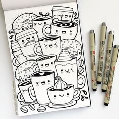 Kawaii coffee sketchbook drawing for Draw a Week Challenge by Kate Hadfield! Kaw… - architecture and art - Kawaii coffee sketchbook drawing for Draw a Week Challenge by Kate Hadfield! Jessie J, Cool Coloring Pages, Adult Coloring Pages, Pouring Acrylic Paint, Pencil Drawings, Art Drawings, Drawing Art, Cactus Drawing, Drawing Ideas