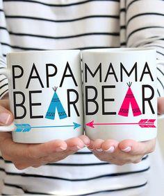 Love this Two-Piece 'Papa Bear' & 'Mama Bear' Mug Set by Love you a Latte on Mother's Day Mugs, Mugs Set, Mama Shark, Whimsical Fashion, Cricut Creations, Cool Baby Stuff, Cute Gifts, Latte, Bear