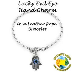 White Lucky Evil Eye Hand Charm in a Leather Rope Bracelet