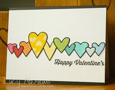 Hello.Today I have a fun, rainbow Valentine to share with you. OK, so I know rainbows are not particularly romantic, but when I first saw the Heart Parade die from Simon Says Stamp's Valentine's relea