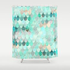 SUMMER MERMAID by Monika Strigel $68.00 #showercurtain #Bathroom #Decor #Homedecor #Makeover #mermaid #summer #scales