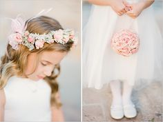 Weddbook ♥ Pale pink peony flower ball and head wreath for flower girl. Flower girl accessories ideas for country wedding. Photography by KT Merry Photography. Peony Bouquet Wedding, Bridesmaid Flowers, Wedding Flowers, Bridesmaids, Hair Garland, Flower Girl Gifts, Flower Girls, Flower Ball, Peony Flower