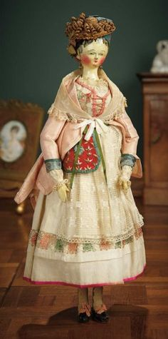"""""""For the Love of the Ladies"""" - October 2016 in Phoenix, AZ: 4 Early Grodnertal Wooden Doll with Superb Original Costume Old Dolls, Antique Dolls, Vintage Dolls, Vintage Dollhouse, Fashion Art, Fashion Dolls, Doll Costume, Costumes, Kitsch"""