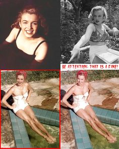 <fake-1161> Young Marilyn - a charming girl. And the model Esther Williams quite attractive, too. But the body of Esther with a clone of Marilyn's face! .. - It is already some kind of unnatural doll-transformer.