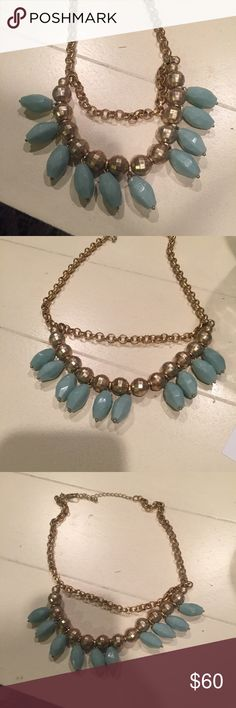 Lia Sophia Gold & Turquoise Necklace Only used twice. Missing one blue bead. In great condition. Lia Sophia Jewelry Necklaces