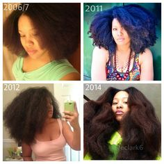 Blowout comparison from 2006/7 to  now. I can honestly say that I've TRULY enjoyed this journey. From the color that I got and hated in the first year *LOL*, to the hair cuts (major and minor), to the flat twist fails and twist out triumphs, I've loved ▶almost◀ every moment! :-D  For those that ask, it's hard to say how long it took to get to the current length because of the cuts/shape ups along the way. I CAN tell you that it'll frustrate you to no end trying to watch a garden grow. Focus…