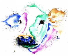 COLOURFUL COW Watercolour Print by Lisa by LisaWhitehouseArt