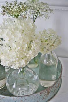 Floral Arrangement -  White hydrangea/lilacs/ dill/queen anne's lace - vignette - VIBEKE DESIGN