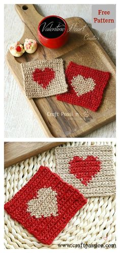 10+ Heart Coaster Free Crochet Pattern and Paid