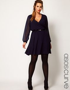 ASOS CURVE Wrap Dress With Chiffon Sleeves and floaty skirt.  Navy.  Up to size 26.