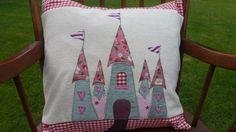 Beautiful Handmade Applique Feather Cushion with Fairy Princess Castle £55.00