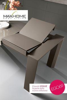 Tavolo rettangolare allungabile dalla linea moderna adatto ad ambienti dinamici ed attuali. Struttura legno e piana vetro sono disponibili nei colori bianco, grigio e fango. VOGUE esprime tutta la sua eleganza in ogni colore in cui viene proposto.
