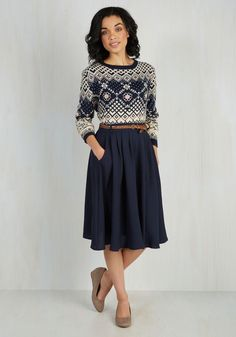 navy a-line skirt + vintage sweater