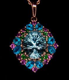 Genuine Sky Blue Topaz with Multi-Gem Accents 925 Sterling Silver Pendant Sterling Silver Pendants, Blue Topaz, Jewelry Watches, Amethyst, Fine Jewelry, Sky, Pendant Necklace, Gemstones, Birthstones