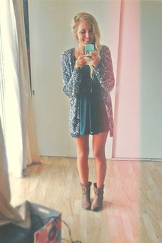 Ankle boots + dress + knit cardigan. #southernflair #casualcutie