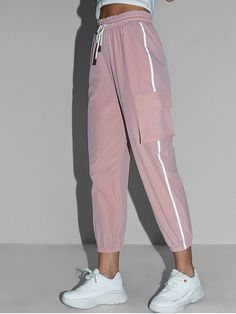 Workout pants & joggers Reflective Side Drawstring High Waisted Jogger Pants - Pink S men& thermal pan. Cute Comfy Outfits, Sporty Outfits, Mode Outfits, Retro Outfits, Stylish Outfits, Girls Fashion Clothes, Teen Fashion Outfits, Fashion Pants, Girl Fashion