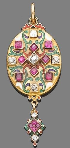 """An enamel, ruby and diamond Holbeinesque locket pendant, circa 1870 The oval locket decorated with white, green, blue and red enamel and set with old brilliant-cut diamonds and circular-cut rubies, suspending a tapering terminal of similar design, the back engraved with floral decoration, the inside engraved """"Victoria R 1852"""", diamonds approx. 0.60ct. total, length 5.9cm."""